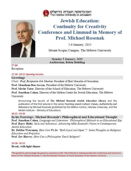 Jewish Education: Continuity for Creativity Flyer